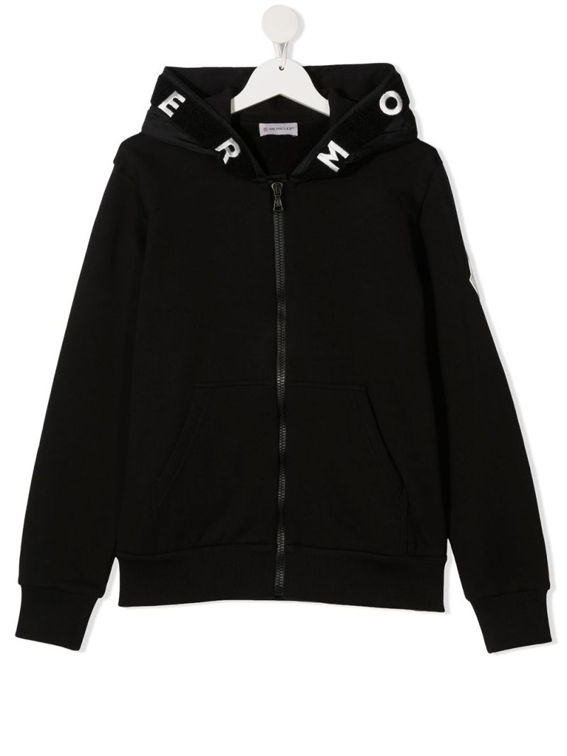 MONCLER KIDS: logo embroidered cotton full-zip hoodie Color Black_1