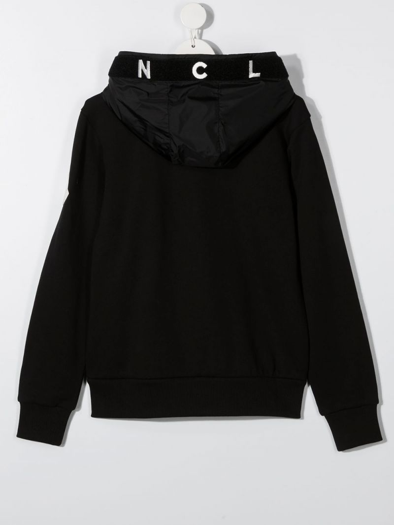 MONCLER KIDS: logo embroidered cotton full-zip hoodie Color Black_2