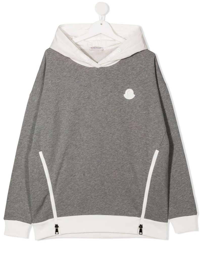 MONCLER KIDS: logo patch cotton hoodie Color Grey_1