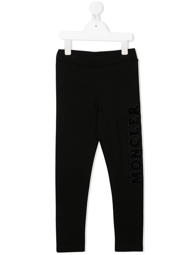 MONCLER KIDS: Moncler embroidered stretch jersey leggings Color Black_1