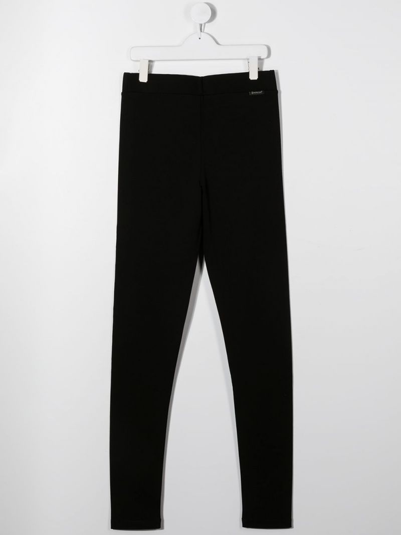 MONCLER KIDS: Moncler embroidered stretch jersey leggings Color Black_2
