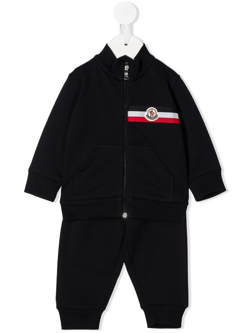 MONCLER KIDS: logo-detailed stretch cotton tracksuit Color Black_1