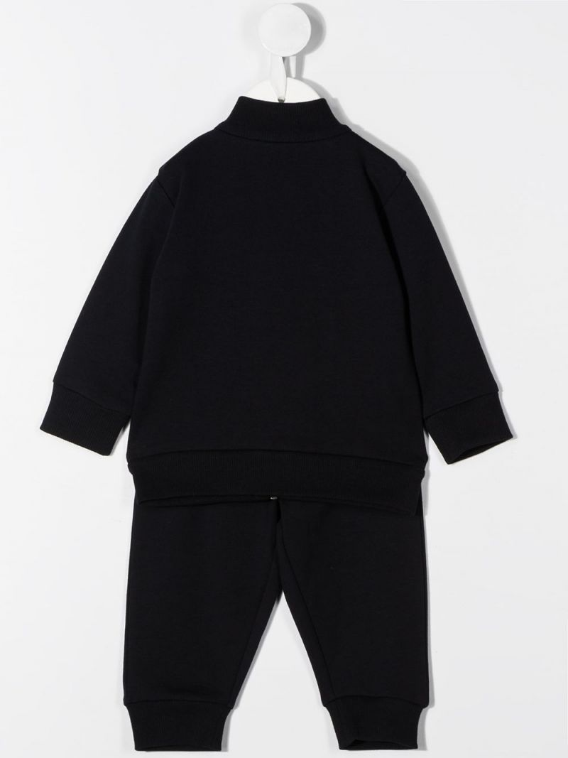 MONCLER KIDS: logo-detailed stretch cotton tracksuit Color Black_2