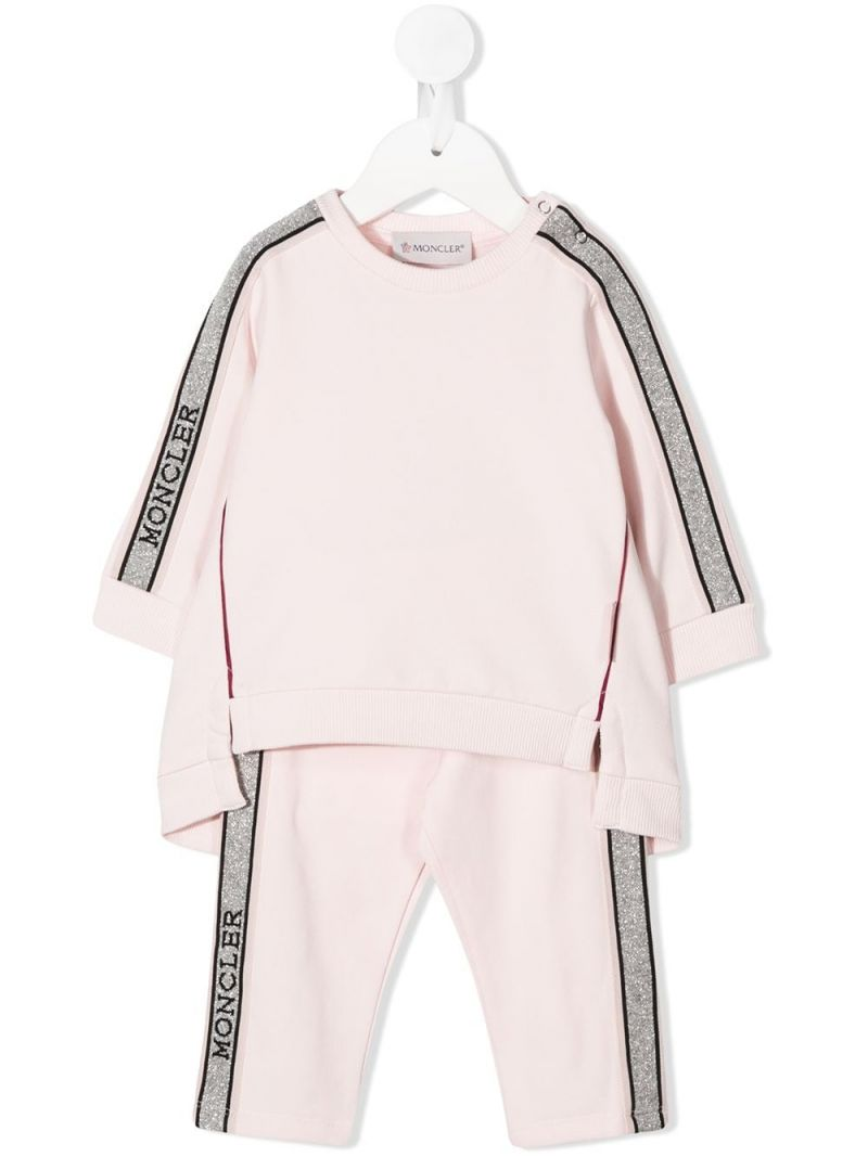 MONCLER KIDS: logoed band-detailed cotton blend tracksuit Color Pink_1