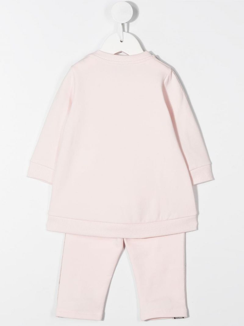 MONCLER KIDS: logoed band-detailed cotton blend tracksuit Color Pink_2