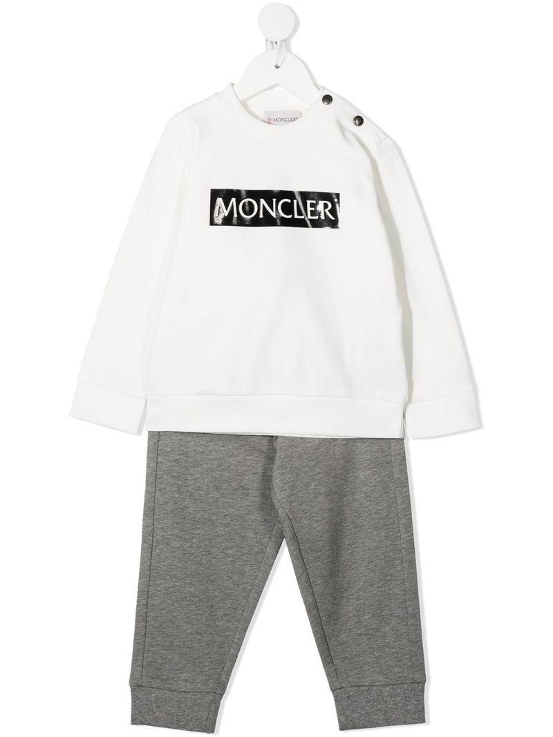 MONCLER KIDS: logo print stretch cotton tracksuit Color White_1