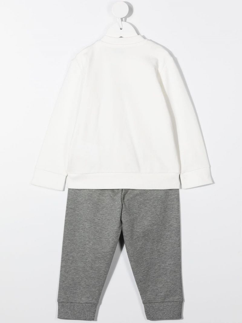 MONCLER KIDS: logo print stretch cotton tracksuit Color White_2