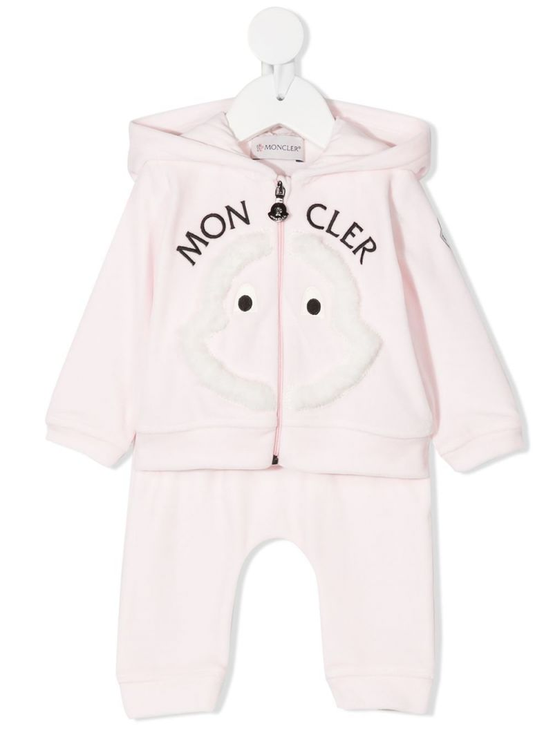 MONCLER KIDS: logo embroidered chenille tracksuit Color Pink_1
