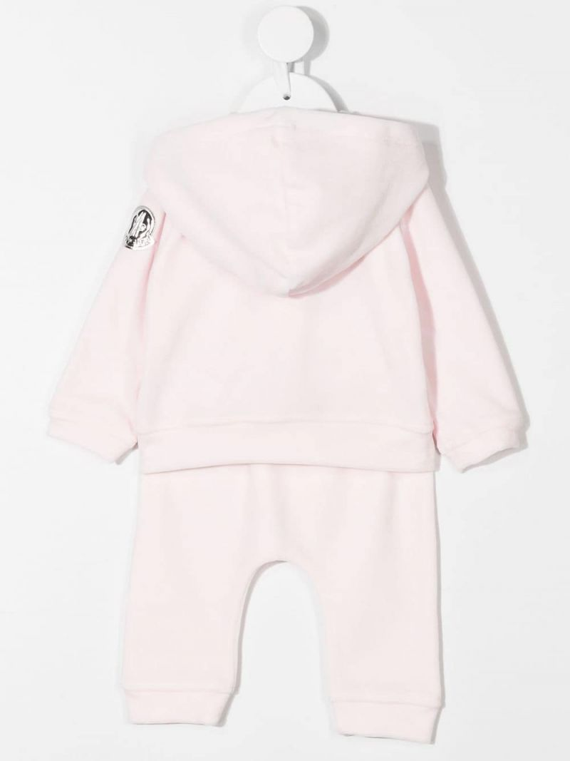 MONCLER KIDS: logo embroidered chenille tracksuit Color Pink_2