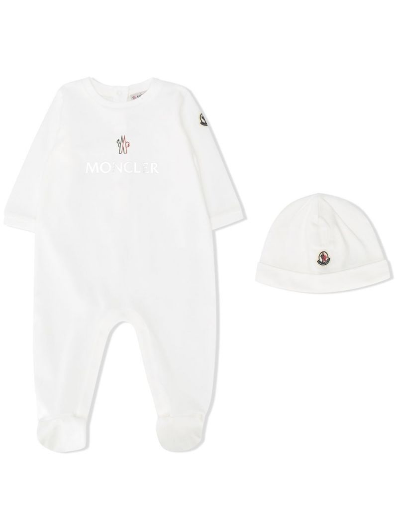 MONCLER KIDS: cotton babygrow and beanie set Color White_1