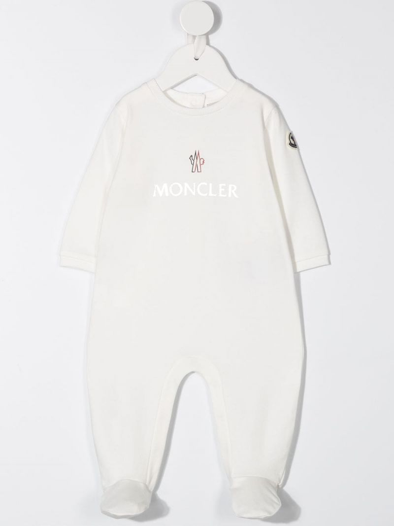 MONCLER KIDS: cotton babygrow and beanie set Color White_2