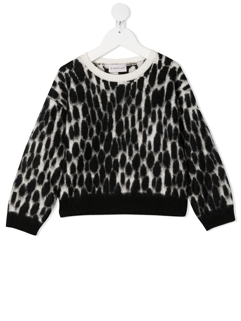 MONCLER KIDS: animalier-motif wool mohair blend pullover Color Black_1
