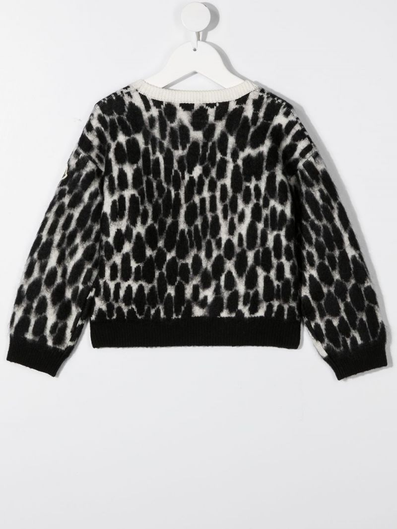 MONCLER KIDS: animalier-motif wool mohair blend pullover Color Black_2
