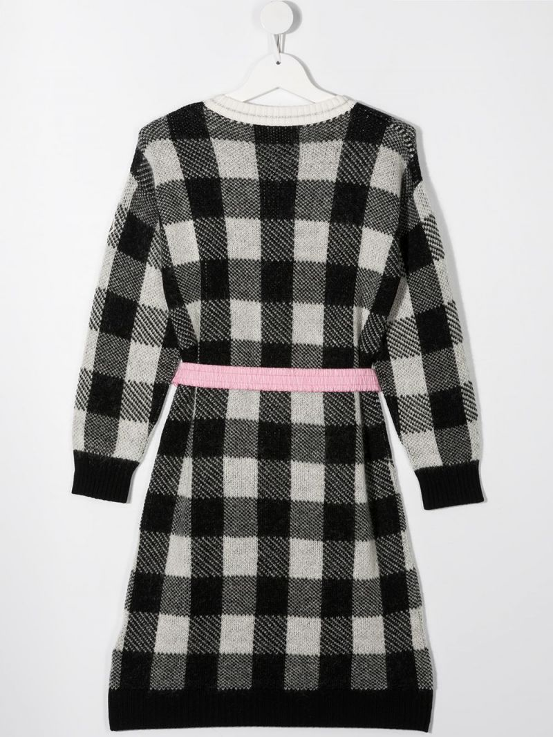 MONCLER KIDS: check wool mohair blend pullover-dress Color Black_2
