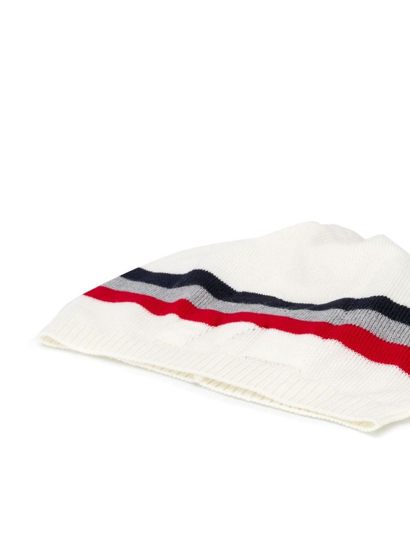 MONCLER KIDS: M intarsia wool beanie Color White_2