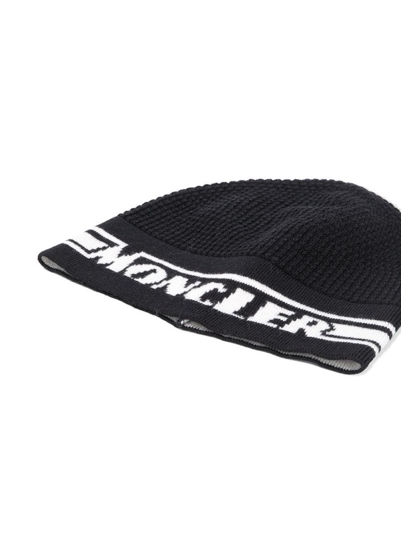 MONCLER KIDS: logo intarsia wool beanie Color Black_2