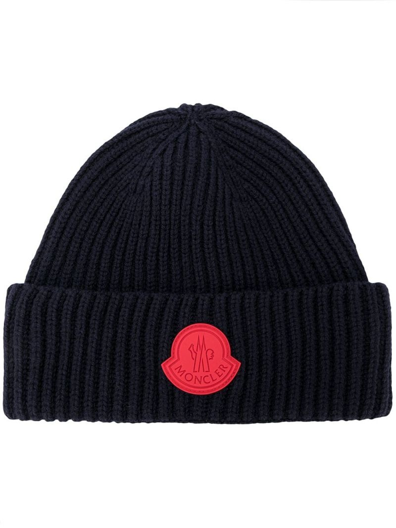 MONCLER KIDS: berretto in lana a costine patch logo Colore Blu_1