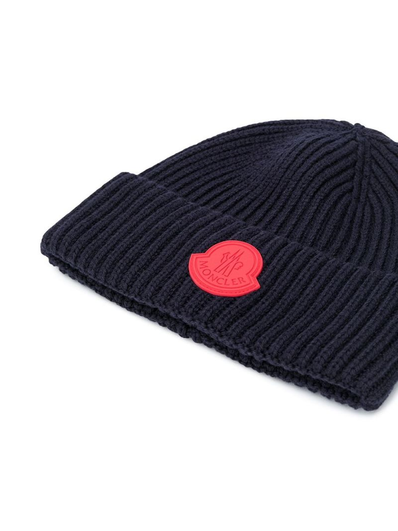 MONCLER KIDS: logo patch ribbed wool beanie Color Blue_2
