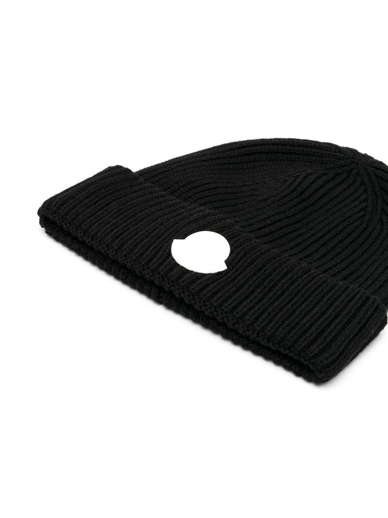 MONCLER KIDS: logo patch ribbed wool beanie Color Black_2