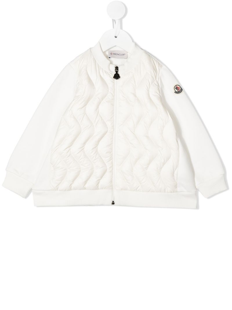 MONCLER KIDS: cotton and padded nylon bomber jacket Color White_1