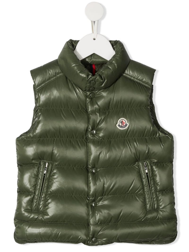 MONCLER KIDS: laquè nylon sleeveless down jacket Color Brown_1