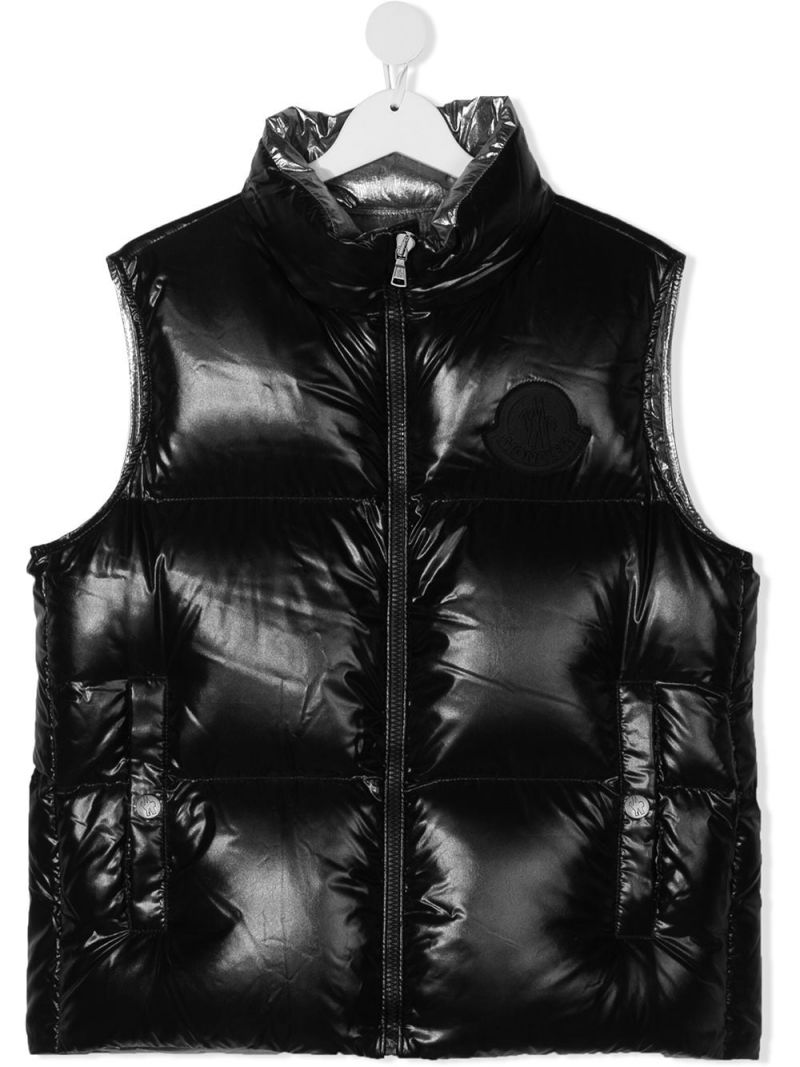MONCLER KIDS: laquè nylon sleeveless down jacket Color Black_1