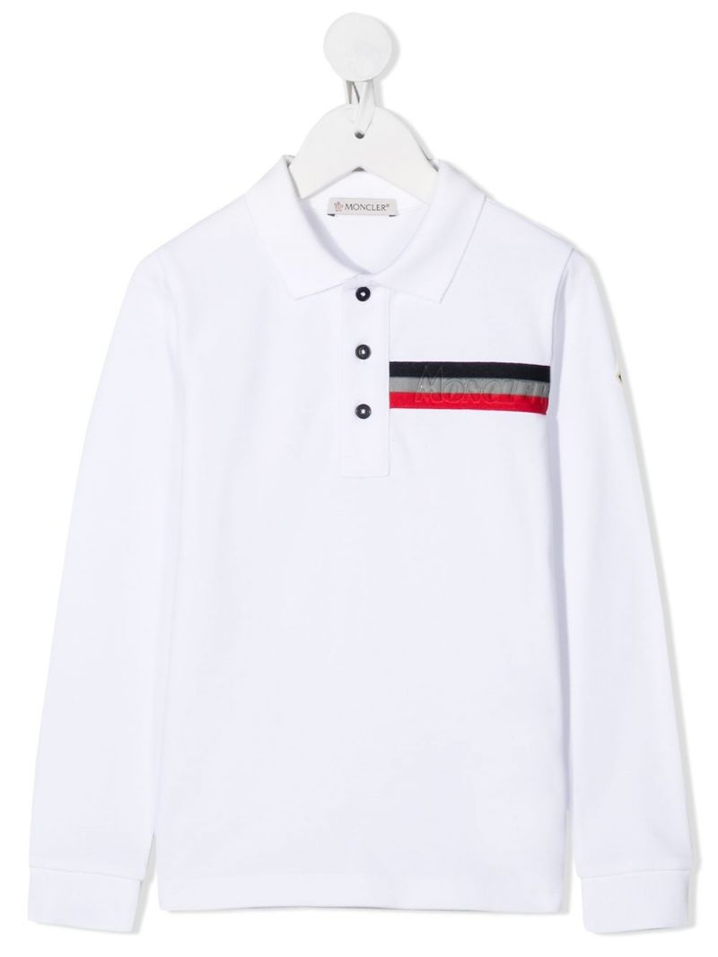 MONCLER KIDS: logo patch cotton long-sleeved polo shirt Color White_1
