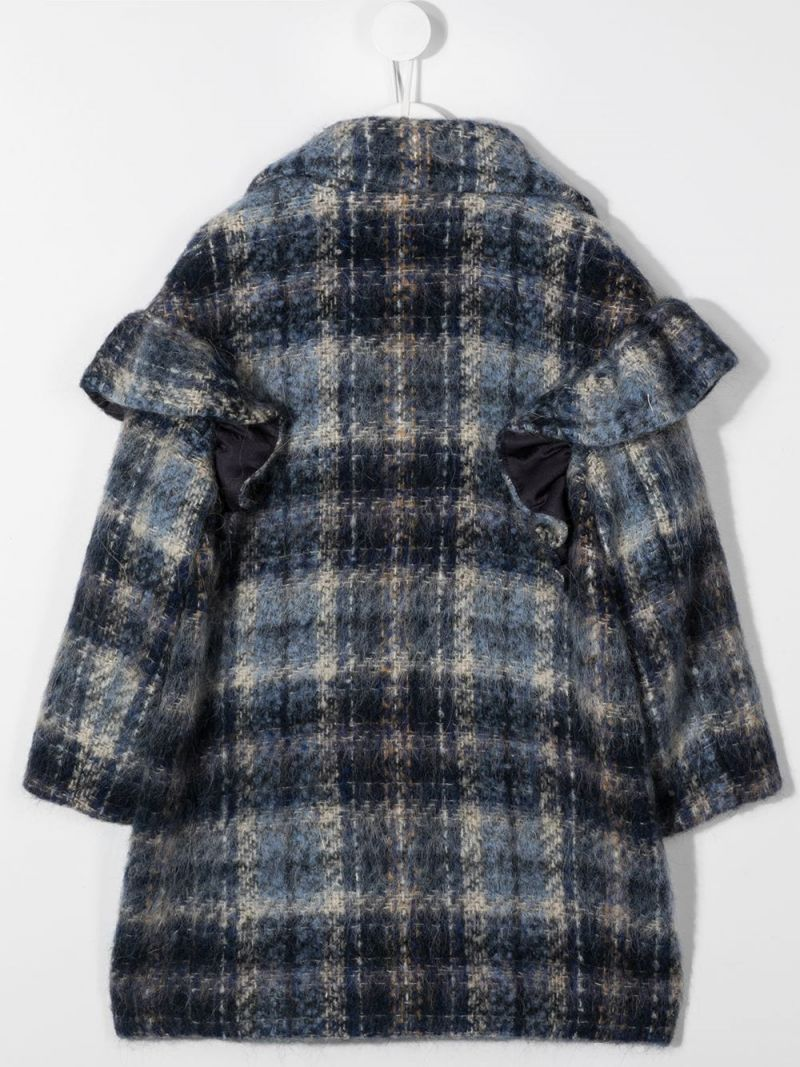 MONNALISA: check wool blend double-breasted coat Color Blue_2