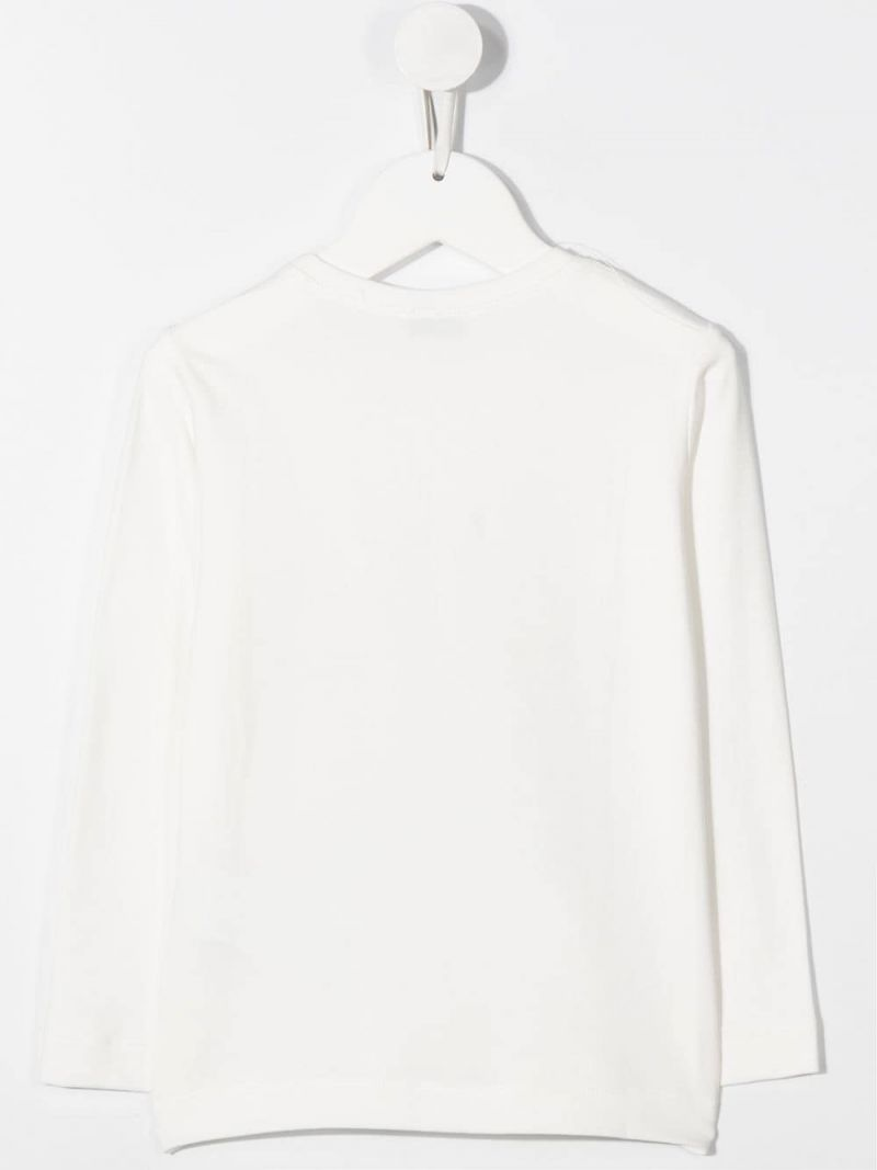 MONNALISA: Paris print stretch cotton long-sleeved t-shirt Color White_2