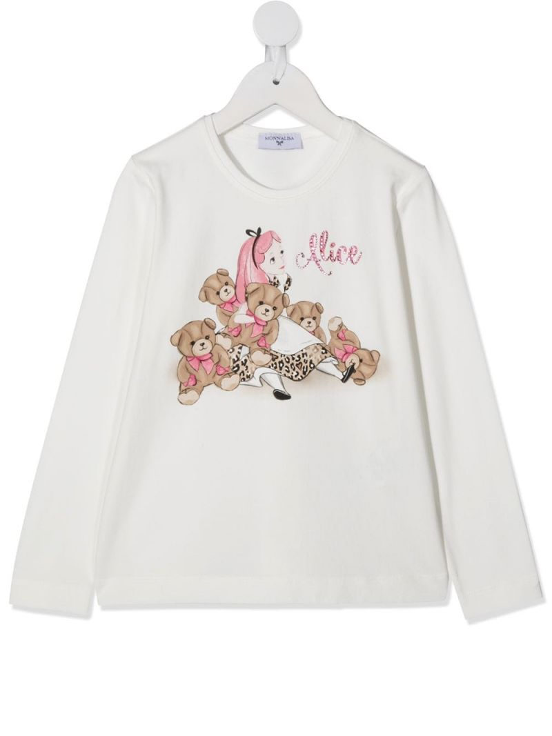 MONNALISA: Alice print stretch cotton long-sleeved t-shirt Color White_1