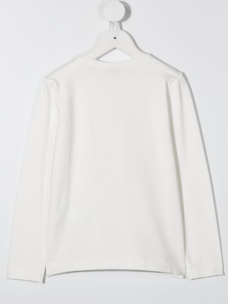 MONNALISA: Alice print stretch cotton long-sleeved t-shirt Color White_2