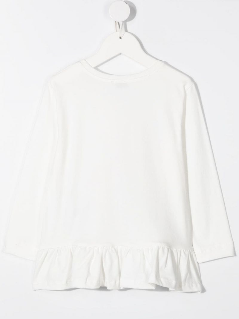 MONNALISA: Olive Oyl print stretch cotton long-sleeved t-shirt Color White_2