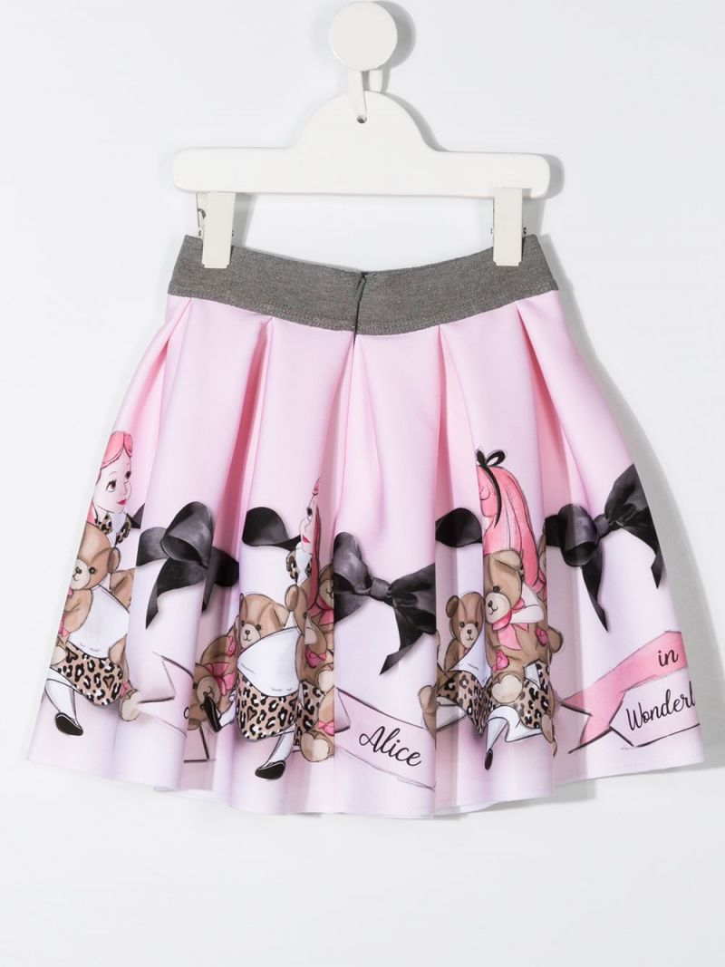 MONNALISA: Alice in Wonderland print neoprene circle skirt Color Pink_2