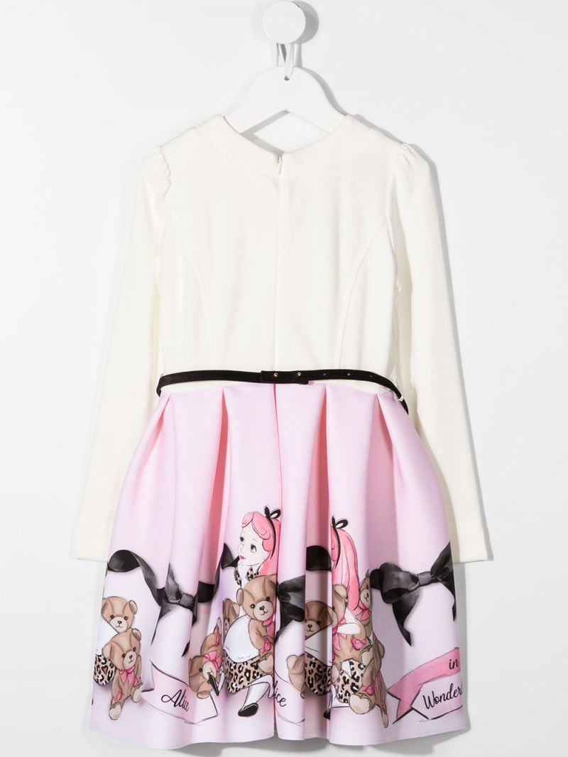 MONNALISA: Alice in Wonderland print neoprene dress Color White_2