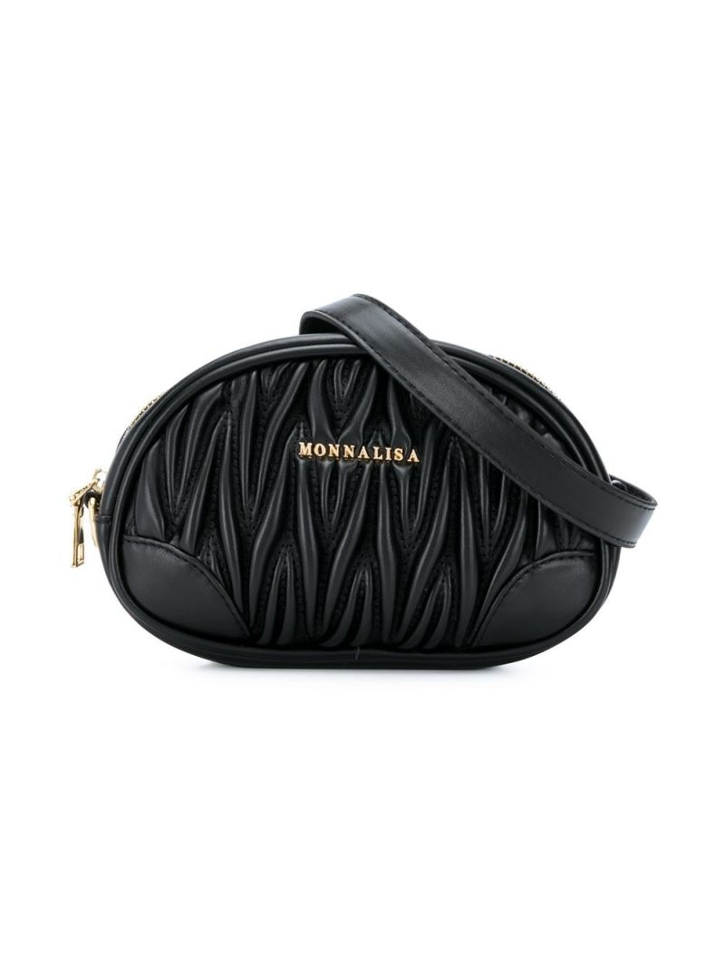 MONNALISA: quilted faux leather belt bag Color Black_2