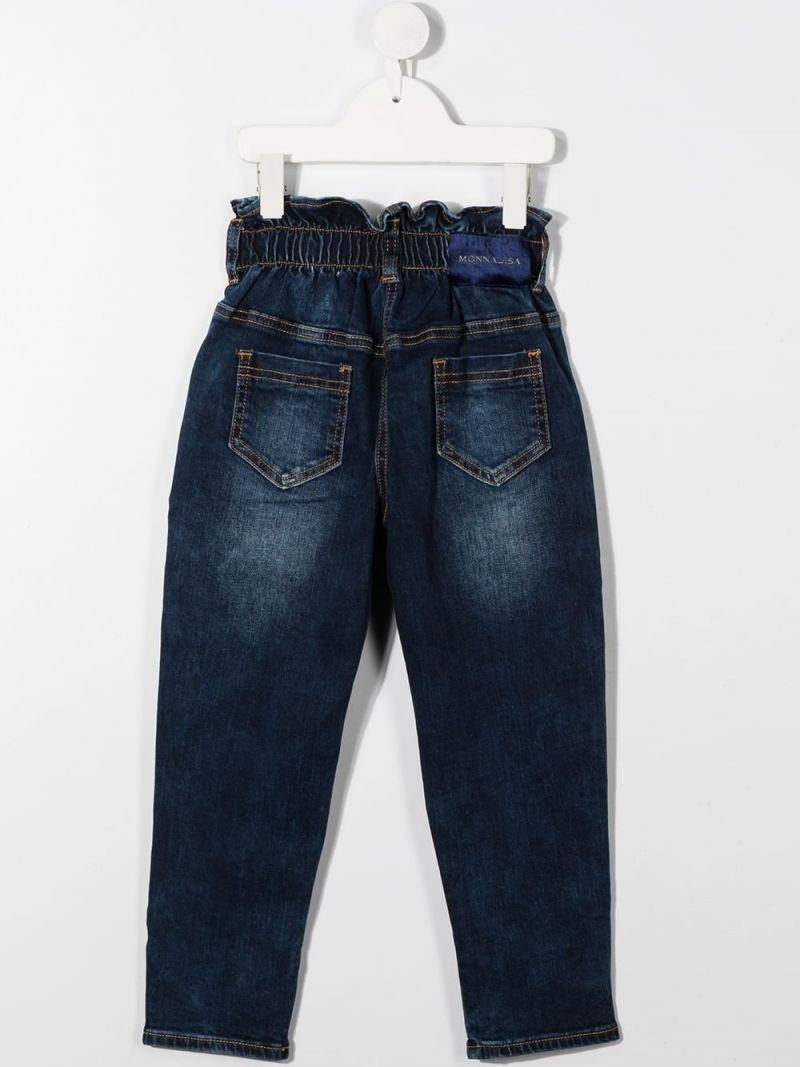 MONNALISA: floral embroidered high-waist jeans Color Blue_2