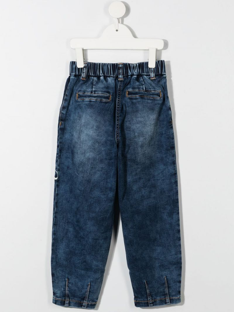 MONNALISA: Cortina patches pleated jeans Color Blue_2