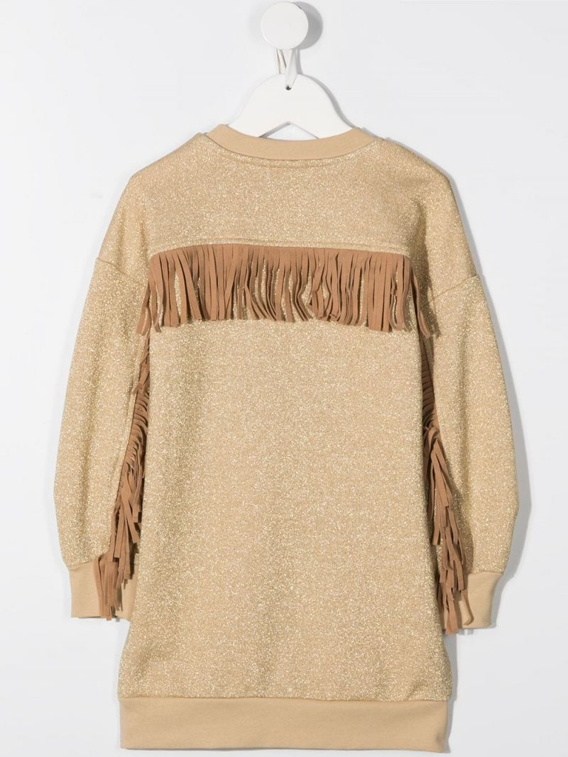 MONNALISA: Cortina embroidered cotton blend sweat-dress Color Gold_2