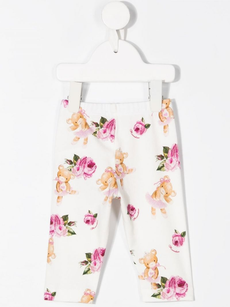 MONNALISA: roses and teddy bear print stretch cotton leggings Color White_2