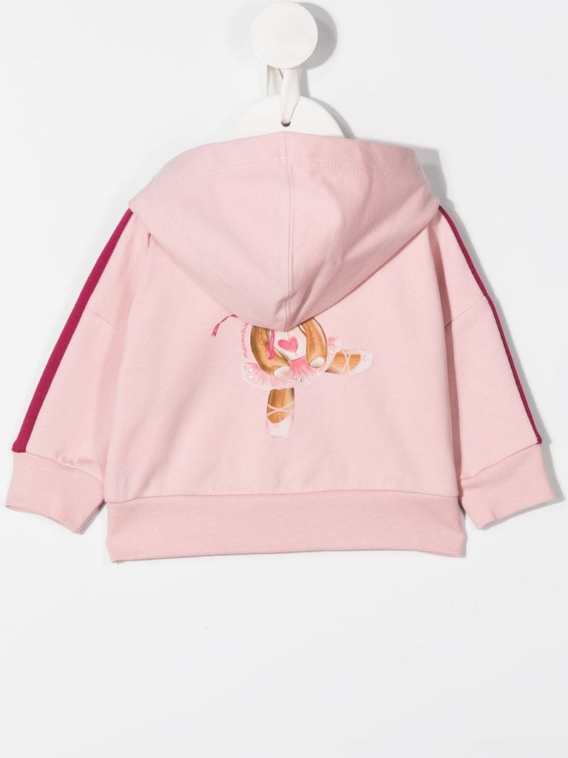 MONNALISA: Teddy Bear print stretch cotton full-zip hoodie Color Neutral_2
