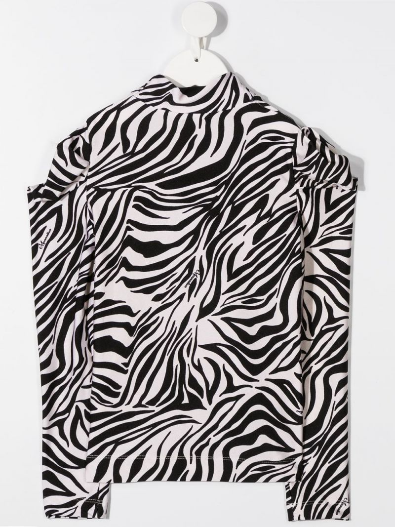 MONNALISA: zebra printed stretch jersey long-sleeved top Color Neutral_2
