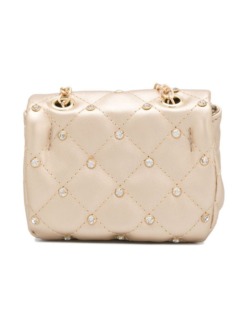 MONNALISA: crystal-embellished faux leather crossbody bag Color Gold_2