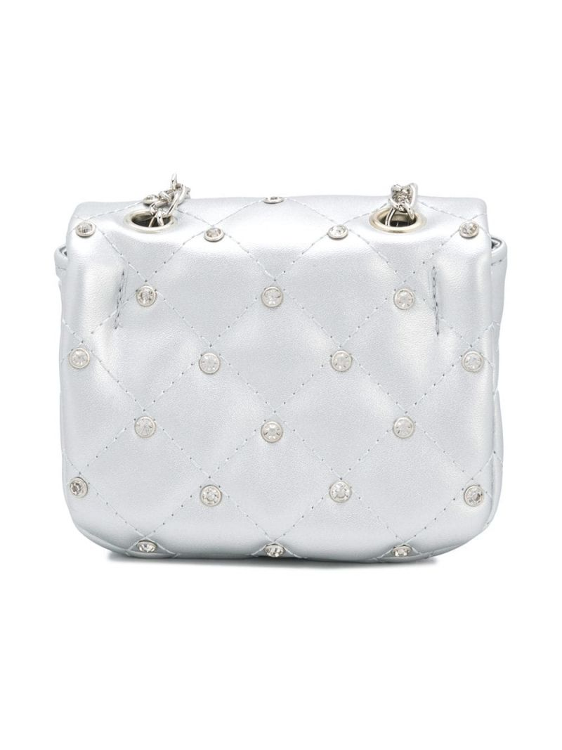MONNALISA: crystal-embellished faux leather crossbody bag Color Silver_2