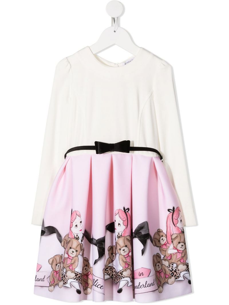 MONNALISA: Alice in Wonderland print neoprene dress Color White_1