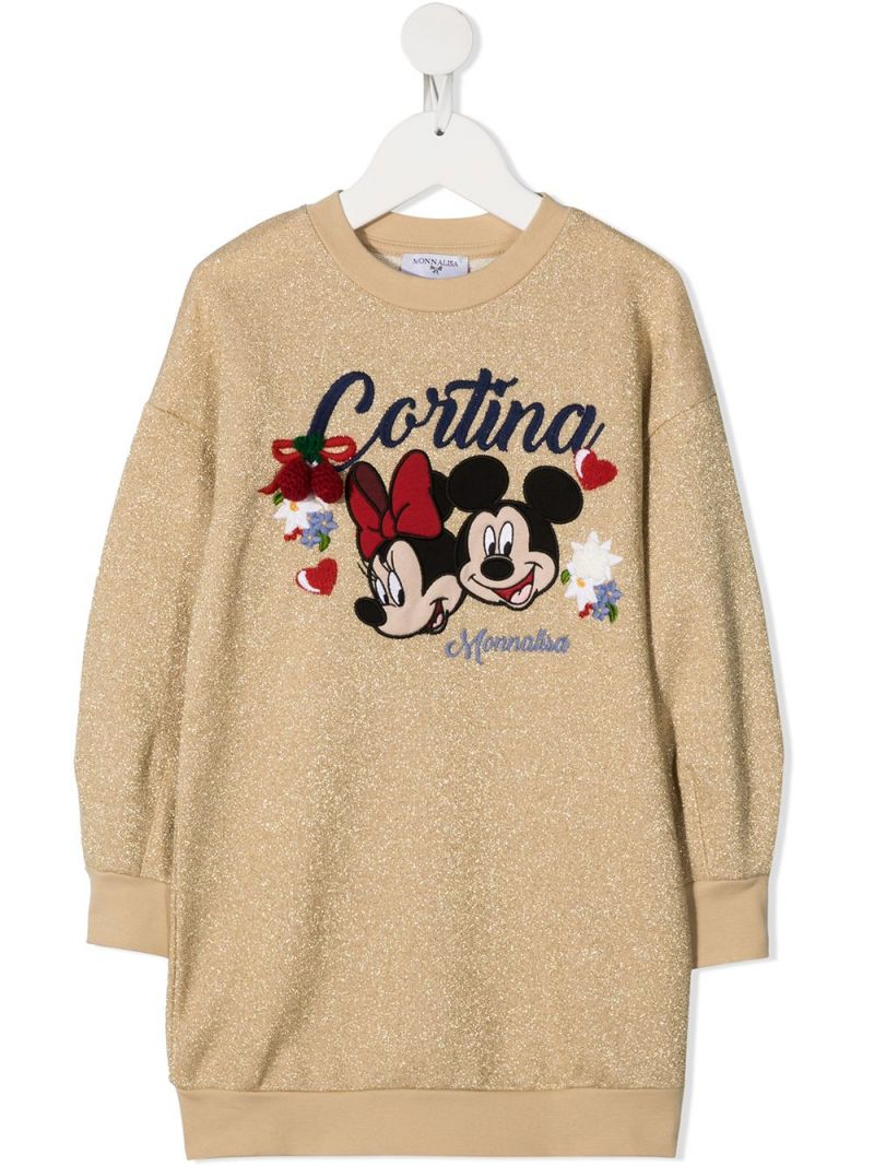 MONNALISA: Cortina embroidered cotton blend sweat-dress Color Gold_1