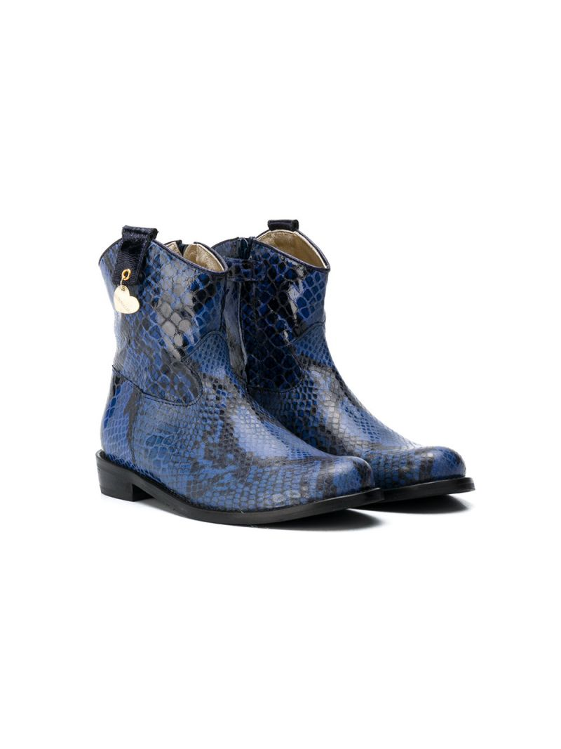 MONNALISA: python embossed leather western boots Color Blue_1