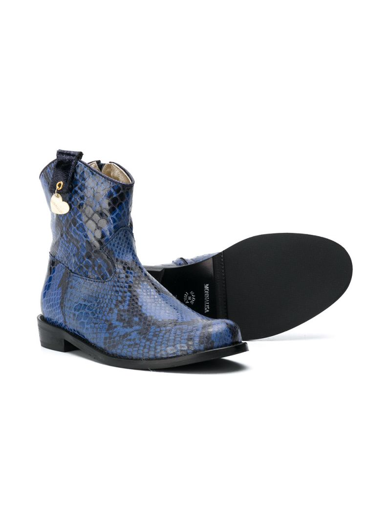 MONNALISA: python embossed leather western boots Color Blue_2
