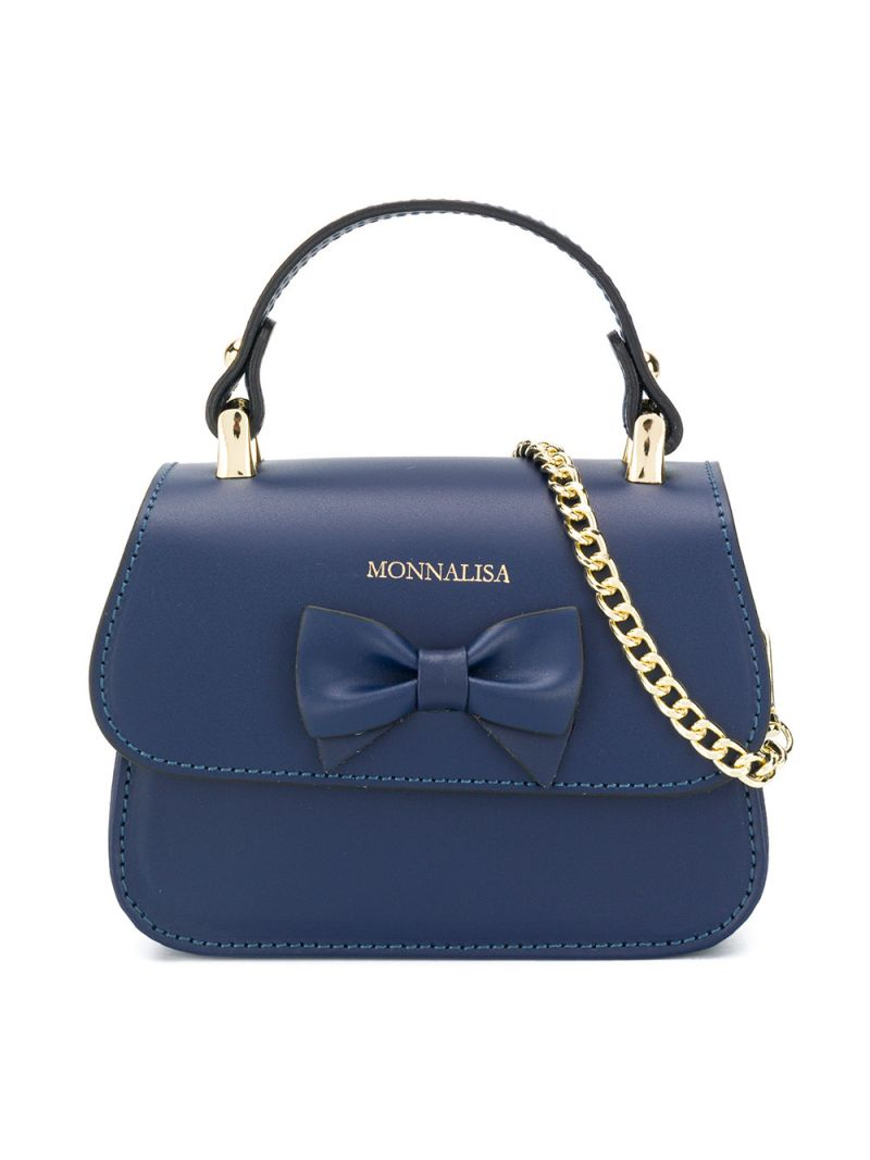 MONNALISA: bow-detailed smooth leather handbag Color Blue_1