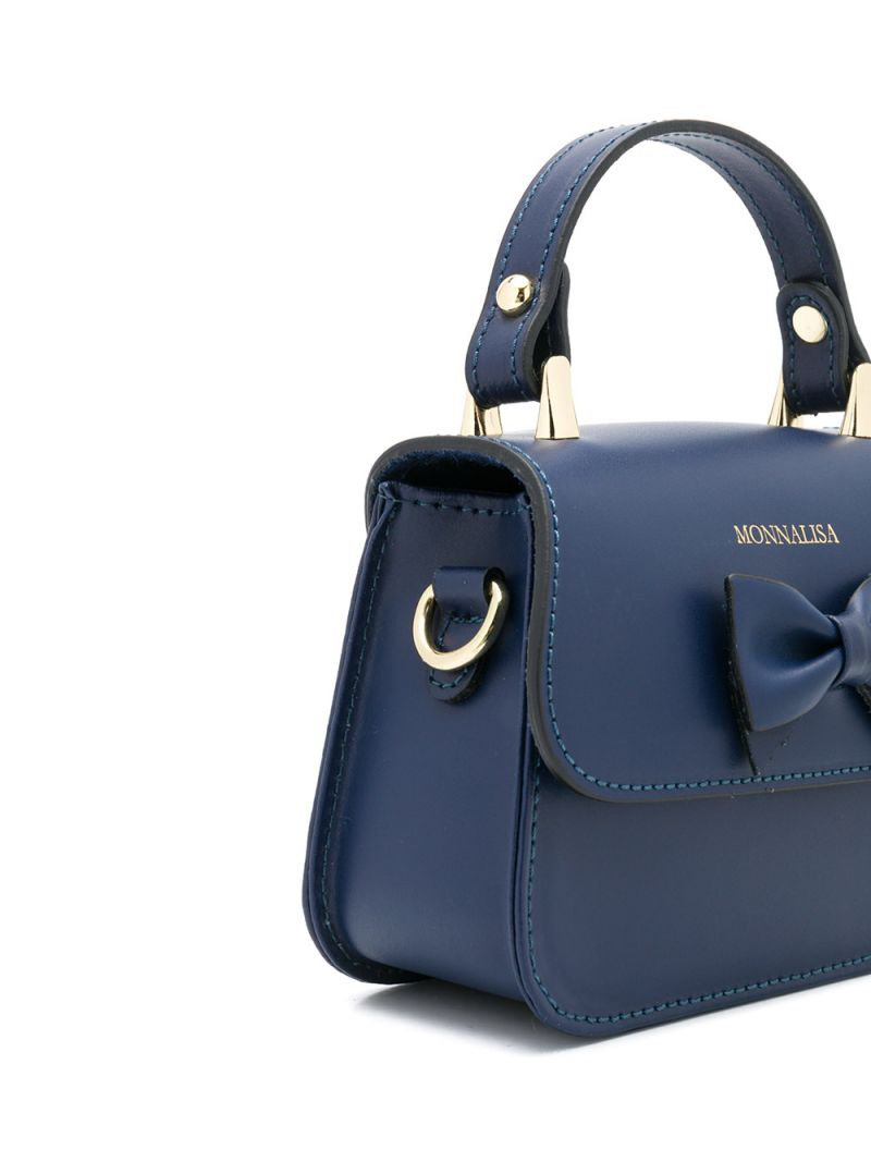 MONNALISA: bow-detailed smooth leather handbag Color Blue_2