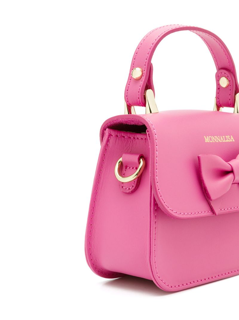 MONNALISA: bow-detailed smooth leather handbag Color Red_2